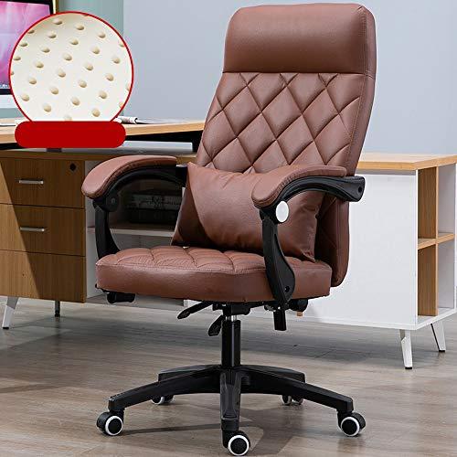 YONG FEI Silla giratoria - reclinables de Cuero Artificial telesilla de Oficina en casa giratoria Estudio reunión de Negocios, Sillas ++ (Color : Amber)