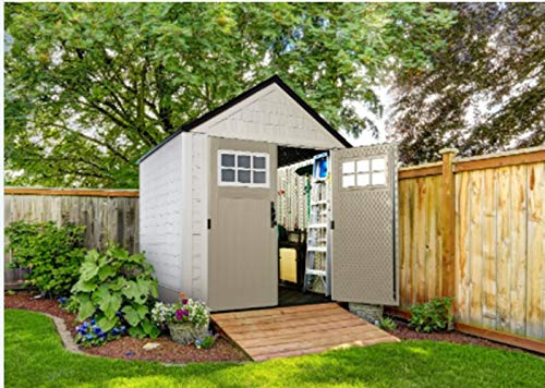 Multi-Purpose & Function Outdoor Durable Weather Storage Shed 7x7 Ft Resistant Resin Home, Resort, Pool, Hotel Keep Equipment Various Tools