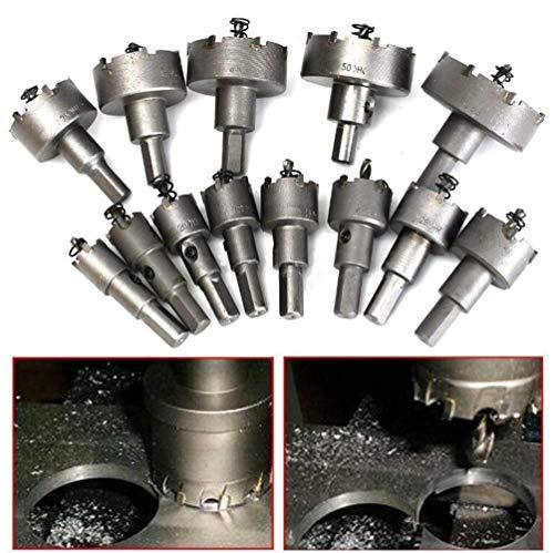 Set da 13 punte TCT in metallo duro, in acciaio inox, da 16 mm a 53 mm per segatura e foratura TCT per metallo Adatte per trapani elettrici portatili