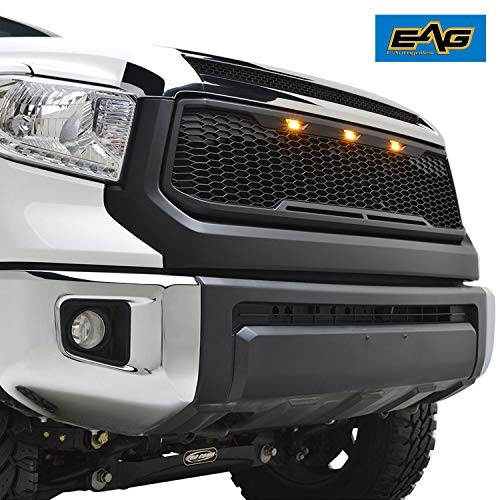 EAG Replacement ABS Grille Upper Front Hood Grill - Matte Black - with Amber LED Lights Fit for 14-20 Tundra