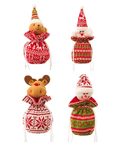 AprilElst Kerstcadeautje tas mooie Santa Snowman rendier beer stof Kerstmis wekker Apple Candy Cookies Collations tas voor Kerstmis kinderen geschenk Party Home Decor 9,85 x 5,91 inch