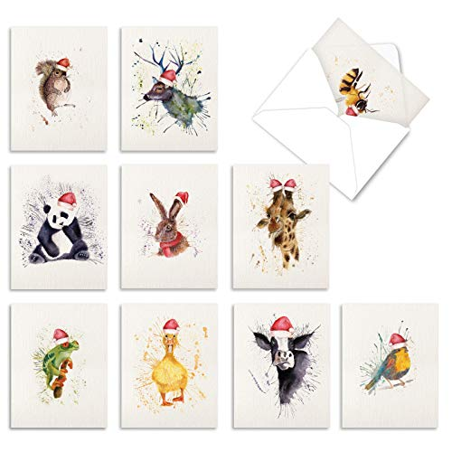 The Best Card Company - 10 Blank Animal Christmas Note Cards - Assorted Bulk Holiday Cards for Kids, Fun Wildlife (4 x 5.12 Inch) - Wildlife Expressions Holiday M2973XSB