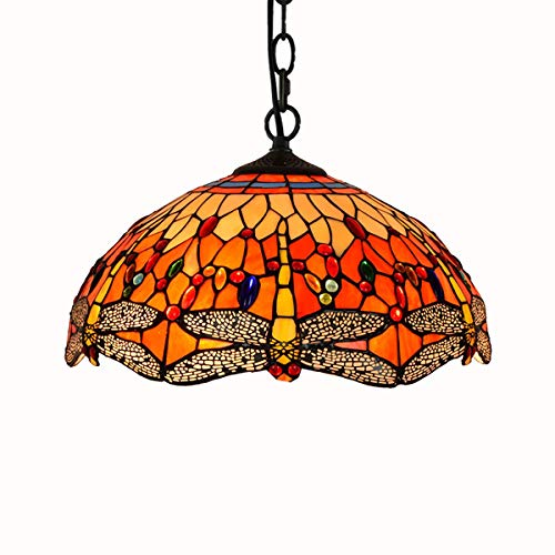 Lámpara de techo estilo Tiffany de 16 pulgadas con diseño de dragón y barra, color rojo