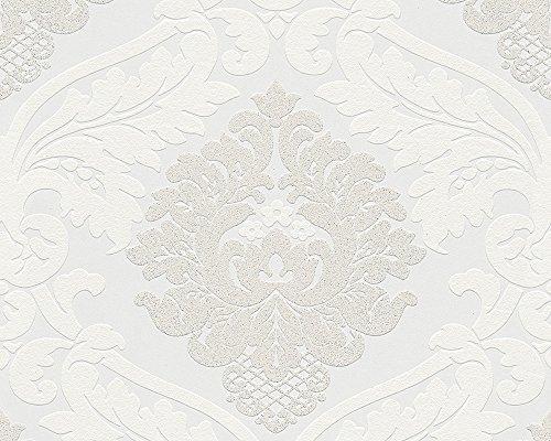 A.S. Création Vliestapete mit starkem Glitterauftrag Bling Bling Tapete neo barock 10,05 m x 0,53 m weiß Made in Germany 313911 3139-11