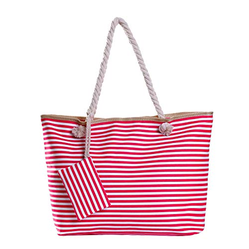 Borsa da spiaggia grande con cerniera 58 x 38 x 18 cm shopper stile marino con strisce bianche e rosa