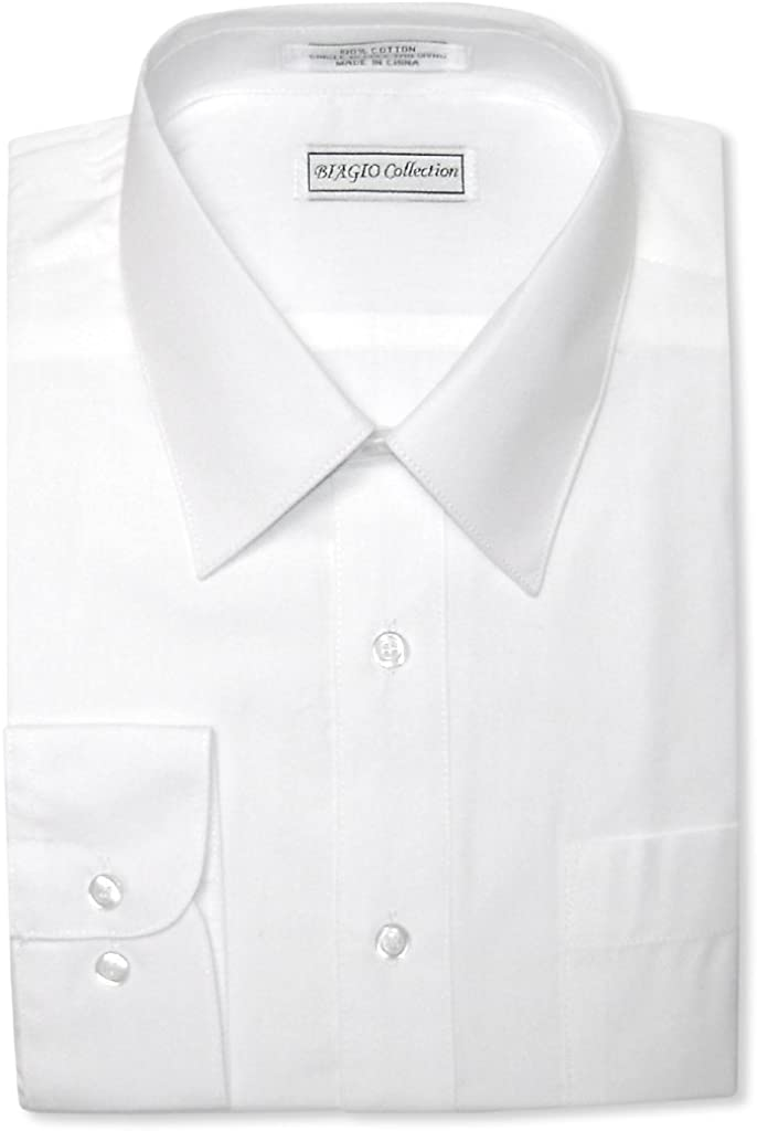 Biagio Men's 100% Cotton Solid White Color Dress Shirt w/Convertible Cuffs