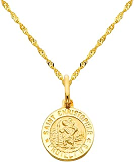14k Yellow Gold Religious Saint Christopher Medal Pendant with 1.2mm Singapore Chain Necklace