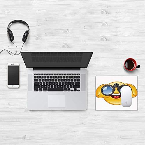 Gaming-Mauspad, Emoji, Smiley-Gesicht mit einem Teleskop-Fernglas Brillen, die außerhalb des Cartoon-Drucks schauen, Gelb und Blau, weiche Oberfläche, leicht zu reinigende Mausmatte, rutschfeste Rücks