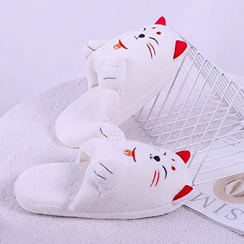 XZDNYDHGX Invierno Zapatillas Interior Casa,Zapatillas de Mujer para niña, Bonitos Gatos de Dibujos Animados, Zapatos cálidos de Felpa, Zapatos cómodos Planos Informales para Mujer, Blanco EU 34-35