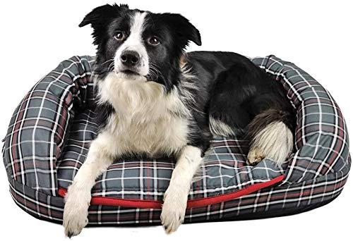 Romneys DogBed Tartan | Das gemütliche Hundebett mit Matratze und Thermo-Hundedecke | Waschbar, ergonomisch, isolieren - Ideal auch für ältere Hunde (XL (112 x 76 cm), Grau-kariert)