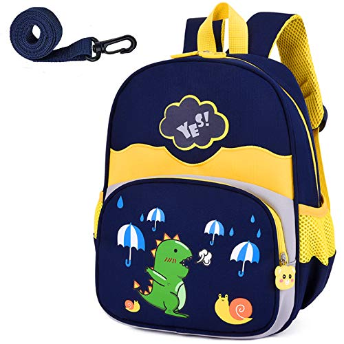 Kinder Kleinkind Rucksack Jungen mit Riemen Dinosaurier Blau Kindergarten Leine Büchertasche