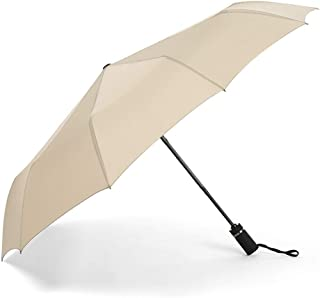 Umbrella Windproof Anti-rain 10 Bone Increase Automatic Fold Thick Umbrella Sunny Umbrella Comfort Handle (Color : Khaki)