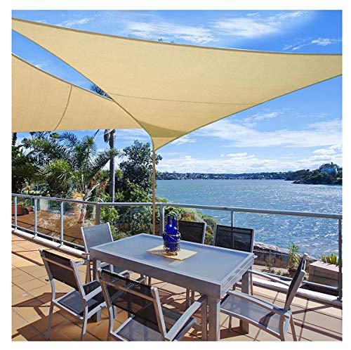 'N/A' Toldo Triangular de protección Solar para Vela, toldo Triangular de 96%, Resistente al Agua, para Fiestas en el Patio, jardín al Aire Libre, con Cuerda Gratis(Size:4×4×4m,Color:de Color Crema)