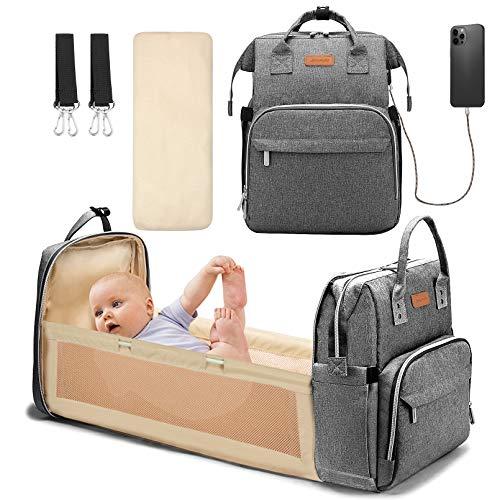 Yoofoss Mochila Pañales para bebes Mochila Cuna Portátil Bolsos cambiadores Gran Capacidad Mochila Bebe Pañales con un Puerto de Carga USB y 2 Correas Ganchos Gris