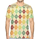 LLALUA Mens 3D Printed T Shirts,Colorful Rhombuses with Grunge Banner Design Stars and Victorian Swirls and Curls XL