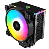 Pccooler GI-D56A CPU Cooler Dawn Series | Silent PWM RGB Fan 120mm | E-Sports Plexiglass Top Cover Sync with ARGB Lights | 5 Heat Pipes | TDP160W Super Heat Dissipation for Intel i7/i5/i3, AMD Series