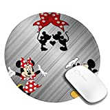 Mouse Pad - Lovely Mickey and Minnie Round Mouse Pad Anti Slip Mouse Mat for Desktops, Computer, PC and Laptops