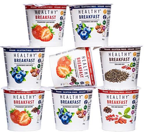 Gesundes Frühstück von MESAVERDE Haferflocken, 7 + 1 Beerenmischung, ein gesundes Frühstück für einen erfolgreichen Start in den Tag, glutenfrei und laktosefrei geeignet für Veganer. 55g x 8