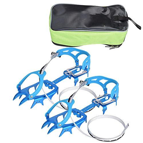 Alomejor Hielo Grips De Nieve 14 Dientes Cadena De Crampones Cubierta Antideslizante para Zapatos Senderismo (Blue)