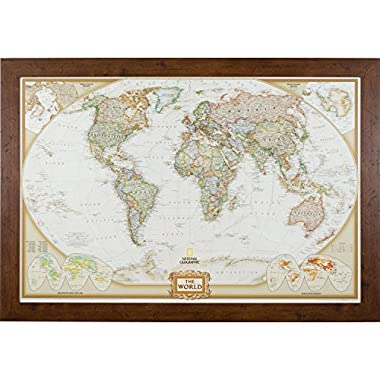 Craig Frames Wayfarer, Executive World Push Pin Travel Map, Dark Walnut Frame and Pins, 24 by 36-Inch