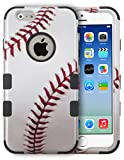 MYTURTLE Shockproof Hybrid Case Hard Silicone Shell High Impact Protection Package Including [9H Flexible Nano Glass Protector] Full Body Cover for iPhone 6s, iPhone 6, Ball Sports Baseball