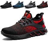 SUADEX Zapatos de Seguridad Hombre Mujer, Punta de Acero Zapatos Ligero Zapatos de Trabajo Respirable Construcción Zapatos Botas de Seguridad Rojo 42EU