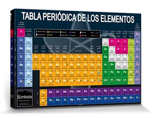 1art1 Escuela - Tabla Periódica De Los Elementos Cuadro, Lienzo Montado sobre Bastidor (120 x 80cm)