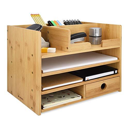 Navaris Organisateur de bureau - Boîte de rangement 33 x 24 x 26 cm en bambou avec 1x tiroir et compartiments - Organiseur fourniture de bureau