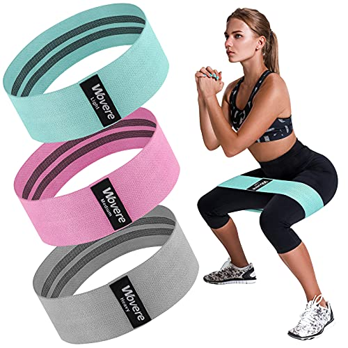 Wovere 3 Fabric Resistance Bands , Loop Exercise Bands for Legs and Butt, Booty Workout Bands for Women, Glute Bands, Resistance Loop Bands, Non Slip Squat Bands with 3 Resistant Levels