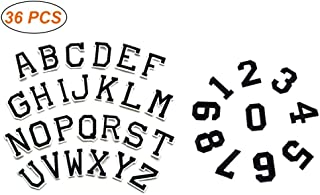 Louise Maelys Letter Number Iron On Patches DIY 36pcs Letter Number Assorted Embroidered Patch Sew On Alphabet Applique Patches forHats, Jackets, Shirts, Vests, Jeans, White