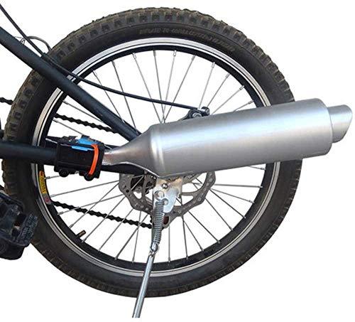 Afittel0 Bici Escape Sistema de Sonido, Bicicleta Turbo Tubo de Escape con Sonido Efecto Moto Ruido Hacer Ciclismo Accesorios Sistema - Plateado, 35 x 7.5 cm
