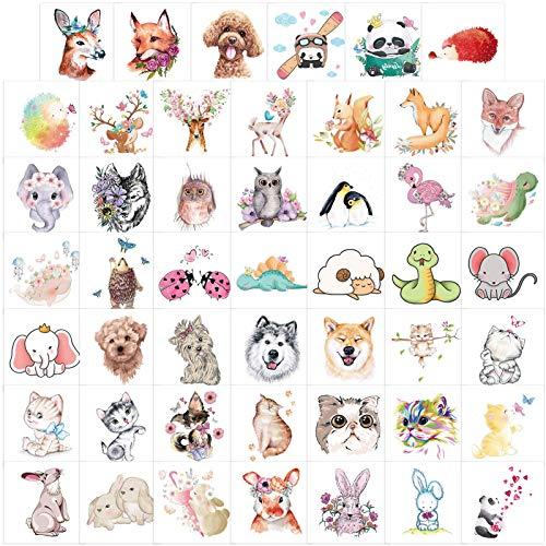 Qpout 48 fogli Tatuaggi temporanei animali per bambini, tatuaggi animali giungla zoo, tatuaggi cartoni animati per bambini ragazzi ragazze regali decorazione festa di compleanno animali
