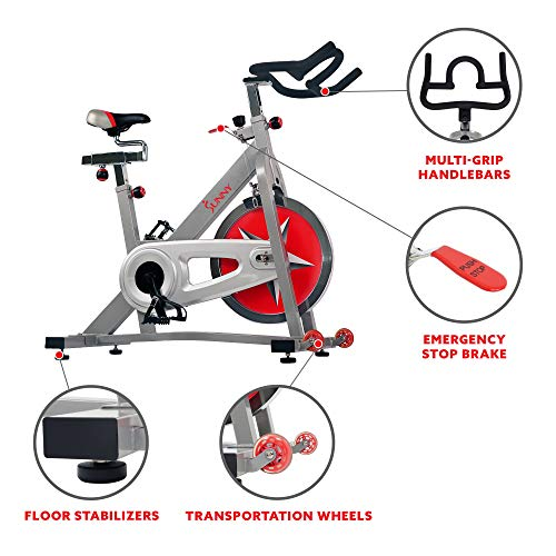 Sunny Health & Fitness Spin Bike Workout Machine Stationary Bike SF-B901 Pro Indoor Cycling Exercise...