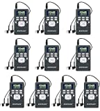 EXMAX EXG-108 Wireless Portable Pocket DSP FM Stereo Radio Digital Receiver with Mini LCD Clock Earphone for Tour Guide System Teaching Meeting - 10 Pack (Gray)