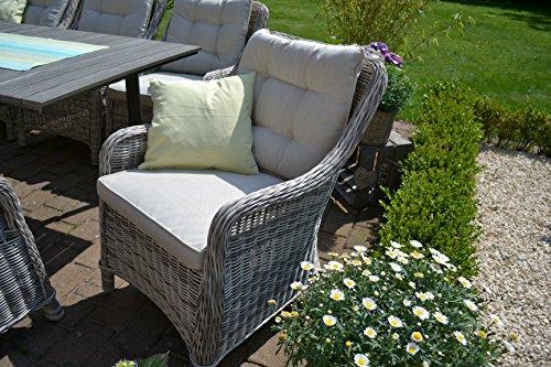 Gartenmöbel Set Como-6 Tisch ausziehbar Holzdekor mit 6 Sessel Rattan Polyrattan Geflecht - 4