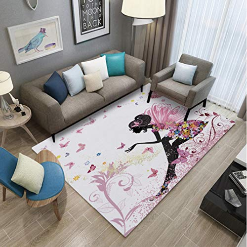 Fairy Tale World Girl With Wings Printed Carpet Living Room Bedroom Non-Slip Carpet Coffee Table Sofa Area Exquisite Polyester Carpet60*90Cm