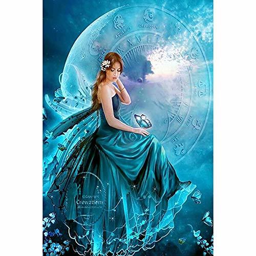 ssymfgzt Picture of 5d diamond painting diamond painting square blue moon fairy rhinestone home decoration 35 * 35cm