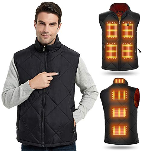 Heated Vest for Men Women Winter Warm Outdoor USB Charging Electric Heating Vest 8 Heated Zones (Battery Not Included),Large