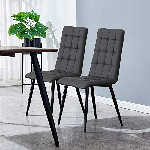 TUKAILAI 2PCS Grey Faux Leather Dining Chairs for Kitchen Dining Room Living Room and Restaurant Retro Lounge Chairs High Back Dining Chairs Grey