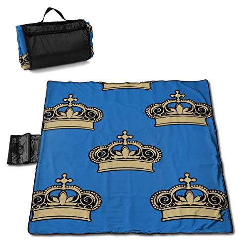 Suo Long Royal Crowns Beach Blanket Pique-Nique Sac fourre-Tout Compact avec Sangle