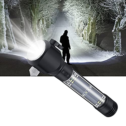 Linterna LED Recargable, Linternas LED Alta Potencia con Función de Carga Solar, Puede Cargar el Teléfono Móvil, con Brújula, Bocina, Hoja y Martillo de Ventana Rota