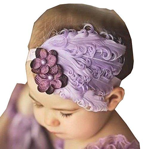 Superbe bébé Bandeau mignon plumes Apparel accessoire Violet (2 ~ 4Y)