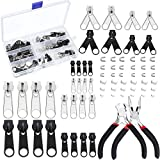 Aneco 171 Pieces Zipper Repair Kit Zipper Replacement Accessories Zipper Install Pliers Tool with Container Storage, Silver and Black