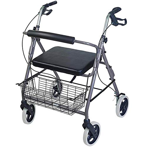 DMI Rollator Walker with Extra Wide Seat and Backrest, Adjustable Handle Height, Removable Storage Basket and a Durable Lightweight Frame that Easily Folds while Supporting up to 375 pounds, Titanium