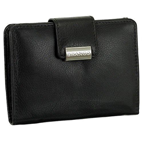 Leder Damen Geldbörse Portemonnaie Geldbeutel XXL mit Druckknopf 10 cm Farbe Schwarz