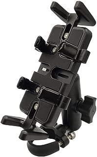 ニコマク NikoMaku バイク スマホホルダー アルミ製 汎用性、固定力抜群 横長さ92mm、厚さは41mmまで対応 ドラレコ、ナビ、トランシーバーも固定可能 独特のU型クランプ ブラック