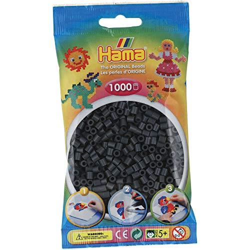Hama - 207-71 - Loisirs Créatifs - Sachet 1000 Perles à Repasser - Taille Midi - Gris Foncé