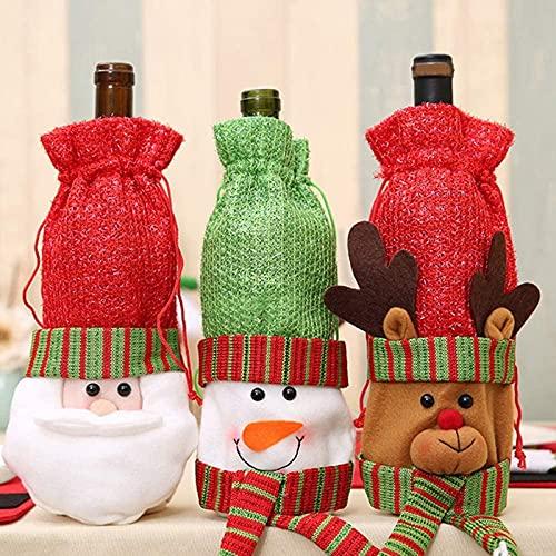 Smnvrs 3 Piezas de Bolsa de Botella de Vino de Navidad, Bolsa de Vino de Santa Snowman Deer, Características