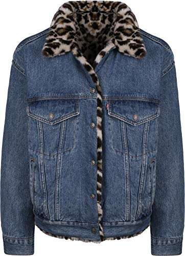 Levis Dad Reversible Fur Trucker Jacket Cat Eye L