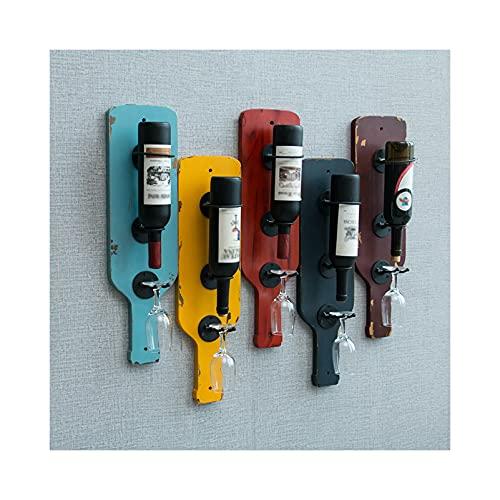 WWJ Botelleros de Hierro Metálico para Bares Soporte para Botella y Vaso de Vino montado en la Pared, Soporte de exhibición de Botella de Vino de Metal, Juego de 5